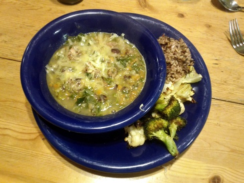 Kidney Bean / Escarole / Sausage soup, Roasted Vegetables