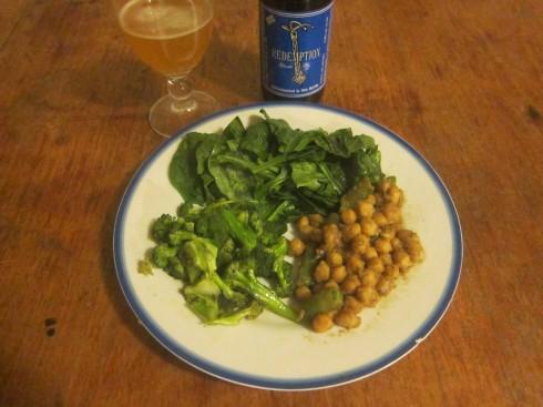 Chick peas, spinach, broccoli, redemption